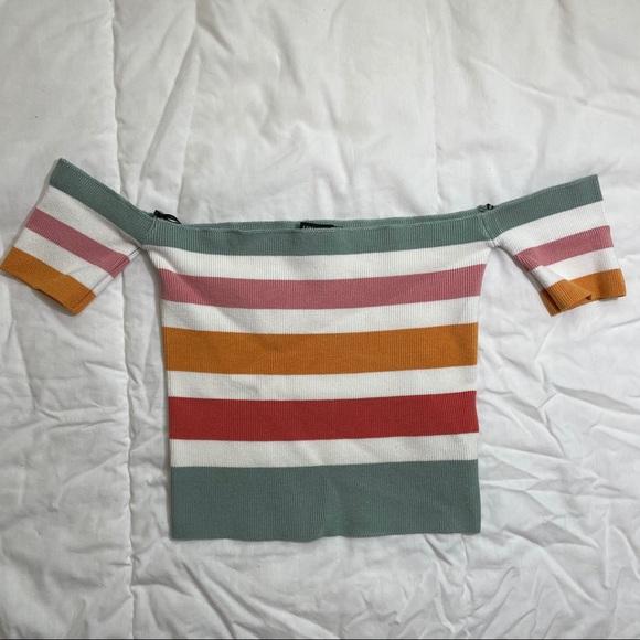 Off the shoulder striped top - Forever 21